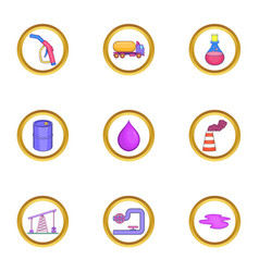Oil business icons set cartoon style vector