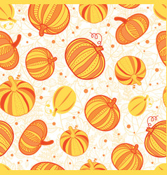 Orange yellow pumpkins texture seamless vector