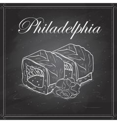 Philadelphia roll on a blackboard vector