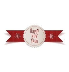 Realistic red ribbon with new year label vector