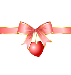 ribbon and heart gift of love vector image vector image