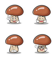 Set of mushroom character cartoon vector