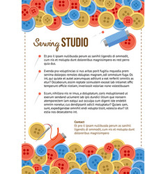 Sewing studio poster template with buttons vector