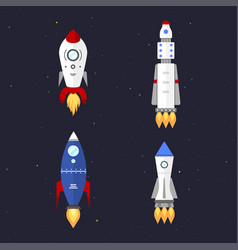 Technology ship rocket cartoon design vector