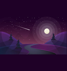 travel night cartoon landscape fir comet star vector image