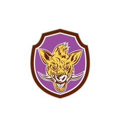 Wild boar razorback head shield retro vector