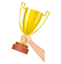 Winner cup in hand eps10 vector image
