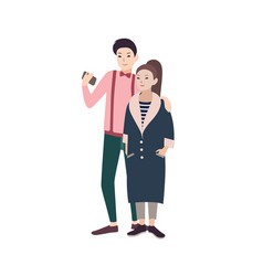 young fashionable couple of man and woman dressed vector image