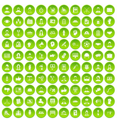 100 team work icons set green circle vector image vector image