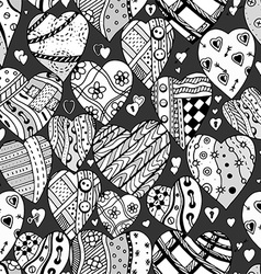 Hand drawn black and white love heart pattern vector
