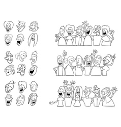 black and white set of funny people vector image