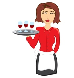 Waitress with wine vector