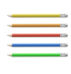 Colored pencils isolated on pure white background vector