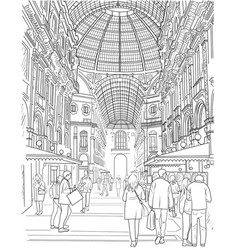 Sketch of the shopping gallery vector