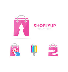 shop and arrow up logo combination sale vector image