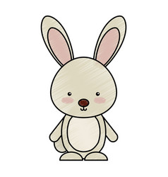 Cute rabbit woodland animal vector