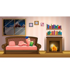 A worm reading a book near the fireplace vector