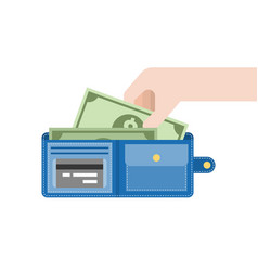 hand pick dollar bank from blue wallet vector image