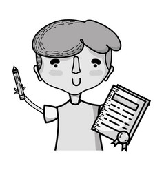 grayscale boy with notebook and hairstyle design vector image