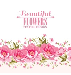Ornate pink flower decoration with text label vector
