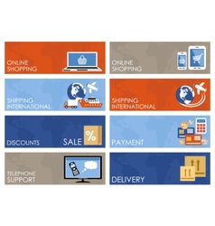 online shopping banners set vector image