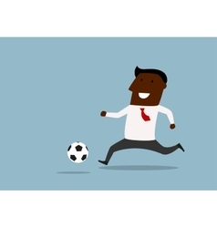 Black businessman dribbling with ball vector image