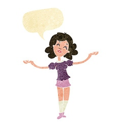Cartoon woman taking praise with speech bubble vector