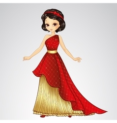 Brunette princess in red dress vector