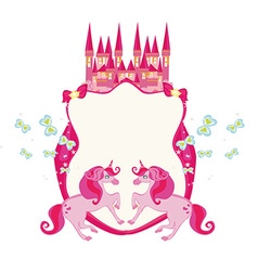 Fairytale frame with pink magic castle and vector