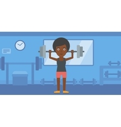 Woman lifting barbell vector