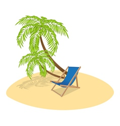 Deck chair palm vector