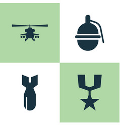 Army icons set collection of bombshell chopper vector