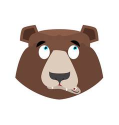 Bear surprised emoji grizzly astonished emotion vector
