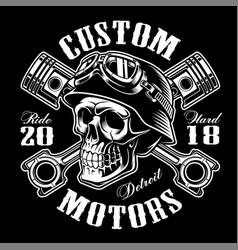 biker skull with crossed pistons t-shirt design vector image vector image