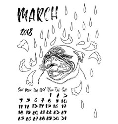 Calendar with dry brush lettering march 2018 dog vector