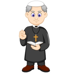 Cartoon christian priest vector