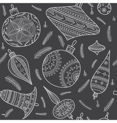 christmas baubles seamless pattern dark vector image