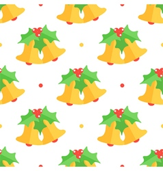 Christmas bell and mistletoe seamless pattern vector