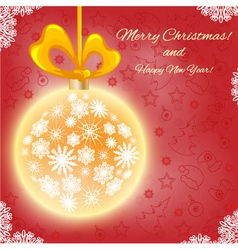 Christmas card with Christmas ball vector image vector image