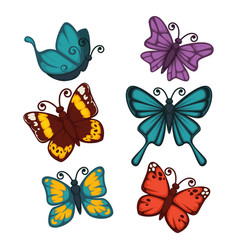 colorful butterflies collection isolated on white vector image