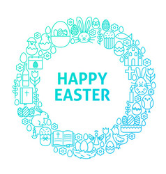 Easter line icon circle concept vector