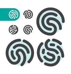 fingerprint logo icon set vector image vector image