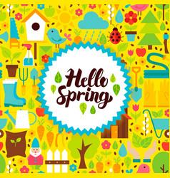 Flat hello spring postcard vector