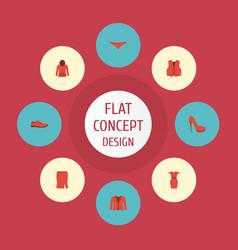 Flat icons waistcoat heeled shoe apparel and vector