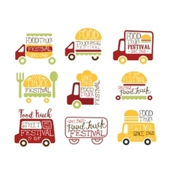 Food Truck Cafe Street Food Promo Signs Collection vector image vector image