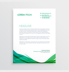 green wavy shape letterhead design template vector image