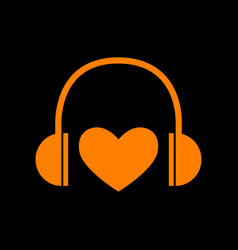 headphones with heart orange icon on black vector image vector image