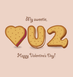 I love you yellow cookies vector
