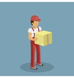 Isometric Profession Courier with Box vector image vector image