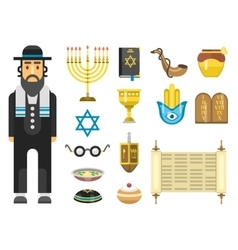 Jew icons set vector image vector image